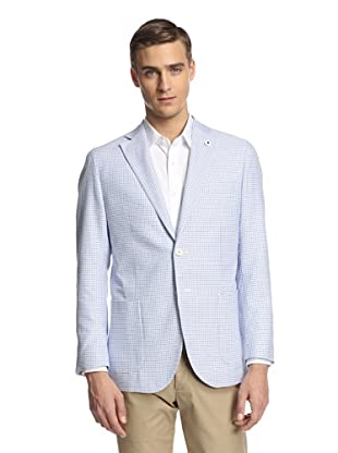 Lubiam Men's Unconstructed Two Button Patch Pocket Sport Coat (Blue/White)