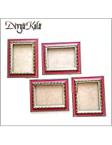 DivyaKala Photo Frame-(Wooden,4pc set) Red