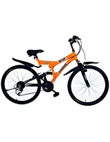 """Kross 26T K50 26"""" 18 Speed Cycle with Back Carrier - Orange & Black"""