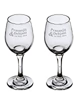 Tohfah4u Wine Glasses for Couple Personalized with Name and Date