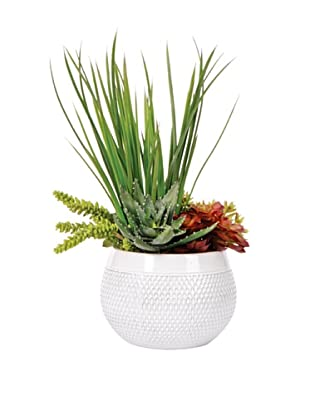 Lux-Art Silks Shiny White Pot with Yucca Succulent, Green