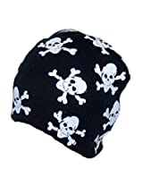 Best Winter Hats Print Skull & Crossbone Winter Skull Cap (One Size) - Black