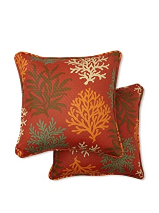 Set of 2 Marine Life Square Decorative Throw Pillows (Mango)