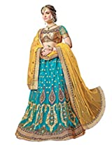 Manvaa Sky Blue And Yellow Net Embroidered Lehenga