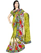 Shree Bahuchar Creation Women's Chiffon Saree(Skb13, Green)