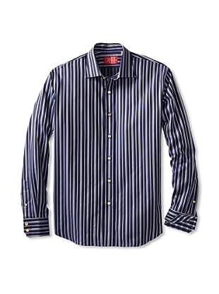 Rufus Men's Button-Up Shirt (Blue Multistripe)