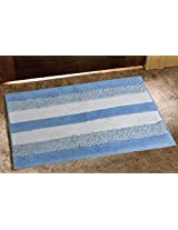 Avira Home 1500 GSM Textured Stripe Mat-Bathmat-Door Mat-Floor Mat-100% Cotton-Blue