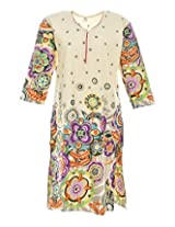 2Dots Women's Cotton Regular Fit Kurti (White, 44 Inches)