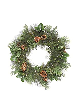 Napa Home & Garden Pinecone Grand Mix Wreath With LED Lights, Green