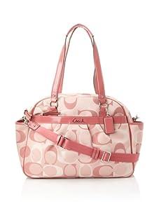 Coach Addison Tri-Color Signature Baby Bag Tote, Pink