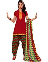Suryajyoti Women's Cotton Dress Material (Red_Free Size)