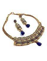 Divinique Jewelry Copper pearl polki necklace set