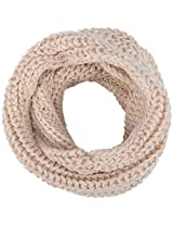 Winter Warm Knitted Large-Weave Infinity Scarf in Lightly Sequined Yarn, Beige