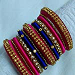 Blue n pink Traditional Bangle Set Of 13 2:4size available