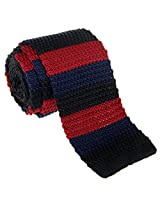"Retreez Casual Three Colors Stripes Men's 2.4"" Skinny Knit Tie - Black and Navy Blue and Burgundy"