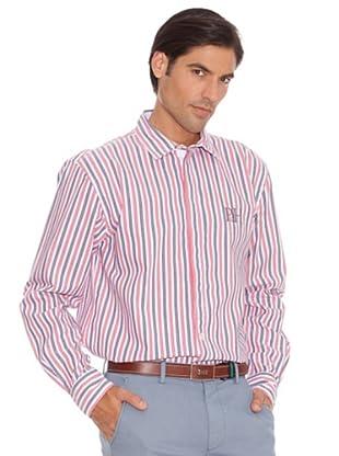 PEDRO DEL HIERRO Camisa Doble Raya Bordado (Marino / Rojo)