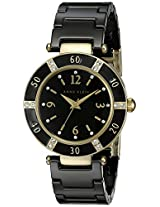 Anne Klein Womens 109416BKBK Swarovski Crystal Accented Gold-Tone Black Ceramic Watch