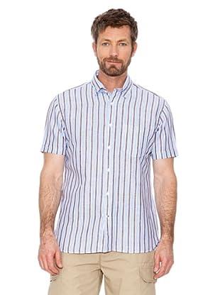 Cortefiel Camisa Rayas (Azul / Marrón)