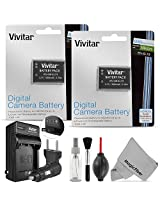 (2 Pack) EN-EL19 Battery Replacement and Charger Kit for NIKON Coolpix S100, S3100, S3200, S3300, S3400, S3500, S2500, S2600, S2700, S2750, S4100, S4150, S4300, S4200, S4400, S6600, S6500, S6400, S5200 - Includes: 2 Vivitar Ultra High Capacity Rechargeabl