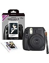 Fuji Instax Mini 8 N Black + Original Strap Set Fujifilm Instax Mini 8N Instant Camera