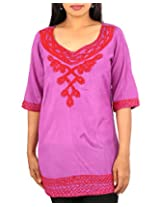 ARCLINES Women's Viscose Regular Fit Kurti(cc9122271_xxxl,xxxl,pink)