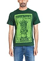 Zovi Cotton India Postage Racing Green Graphic T-shirt 102653014010M