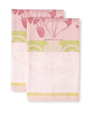 Garnier-Thiebaut Set of 2 Fraisier Rose Kitchen Towels