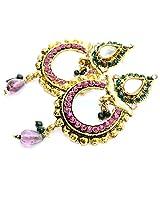 Foppish Mart Fuschia Golden Beauty Danglers For Women