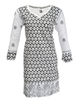 PR Chikans Women's Poly Cotton Kurti (PR601, White Black, 40)