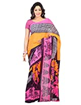Admyrin Multi Colour Georgette Printed Saree with Pink Blouse