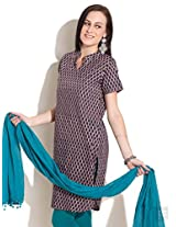 All Over Hand Printed Kurta-Blue-S