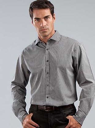 Cortefiel Camisa (negro / gris)