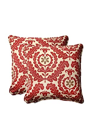 Set of 2 Outdoor Meridian Henna Square Toss Pillows (Red/Brown/Tan)