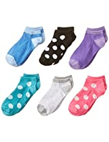 Maidenform Big Girls' Dots and Stripes No-Show Socks (Pack of Six)