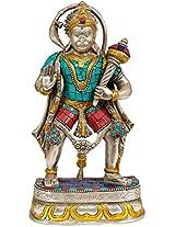 Lord Hanuman - Brass Statue With Inlay