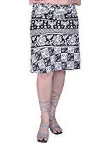 Exotic India White and Black Wrap-around Mini-Skirt with Printed Elephan - White