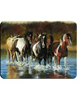 River's Edge Tempered Glass Cutting Board with Image of Horses Trotting through a Shallow River (Rush Hour Horses 16-Inchx12-Inchx.5-Inch)