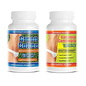 GARCINIA CAMBOGIA EXTRACT w/ HCA 60% & PURE SUPER GREEN COFFEE BEAN Weight Loss 120 Caps (2-Pack)