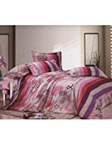 Mebelkart Poly Cotton Bed Sheets with 2 pillow covers: Pink