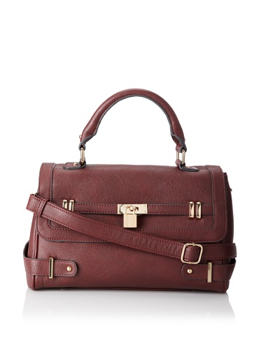 Melie Bianco Women's Julie Fold Over Satchel With Belted Trim (Berry)
