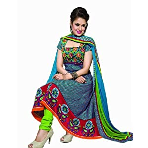 Latest Designer Unstitched Multi Colour Cotton Printed Dress Material With Chiffon Dupatta By Shop Rajasthan