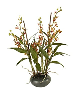 New Growth Designs Faux Dendrobium Orchid, Burgundy/Green