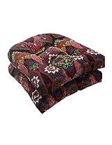 Pillow Perfect Indoor/Outdoor Marapi Wicker Seat Cushion, Black, Set of 2