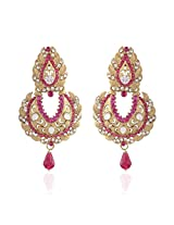 I Jewels Gold-Plated Dangle & Drop Earring For Women Pink - E2107Q
