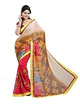 Chandra Silk Mills Blocks Print Fancy Floral Print Wedding Party Wear Saree