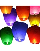 Eco Lights Wishing Lights Paper Sky Lanterns ( 90 cms X 45 cms, Mixed Colours)-Pack of 10
