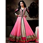 Pink and Black Anarkali style Suit