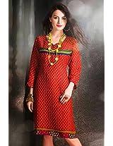 Cotton Jacquard Print Orange Stitched Frock Style Kurti - 29237 - XL