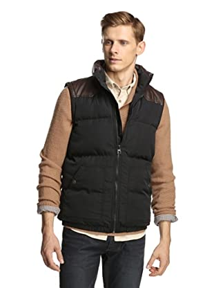 Fresh Men's Puffer Vest with Faux Leather Trim (Black/brown)
