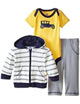 Hudson Baby Baby-Girls 3 Piece Bird Hoodie Bodysuit and Pant